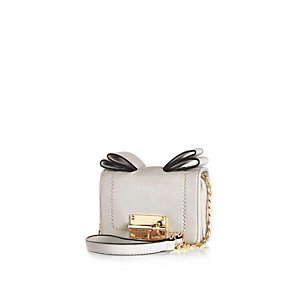 Light grey bow cross body mini handbag
