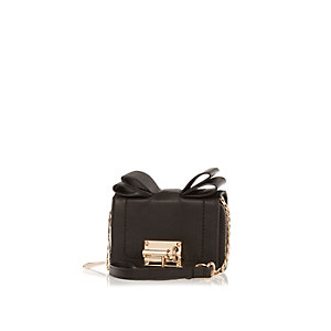 Black bow cross body mini handbag