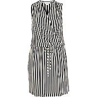 White stripe wrap sleeveless shirt dress