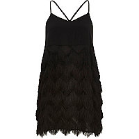 Black fringed slip dress