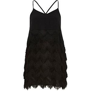 Black glamorous fringed slip dress