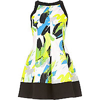Green abstract print skater dress