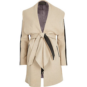 Light brown wool-blend belted wrap coat
