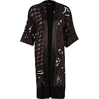 Black burnout embroidered long kimono
