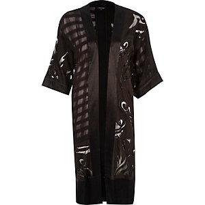 Black burnout embroidered long kimono