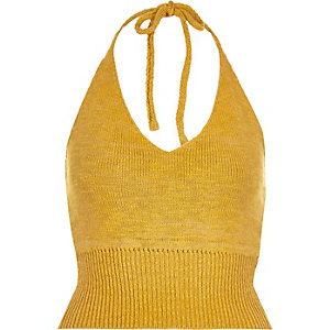 Yellow knitted halter neck crop top