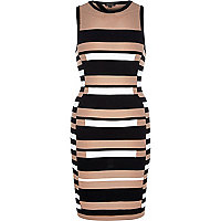 Black stripe open back bodycon dress