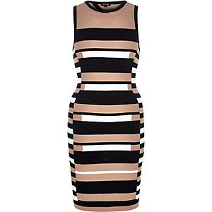 Black stripe open back knitted bodycon dress