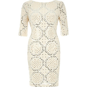 Cream sequin embellished bodycon dress
