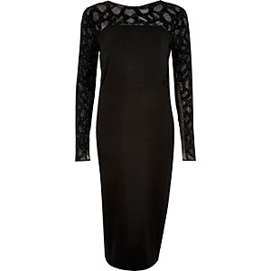 Black embellished bodycon long sleeve dress