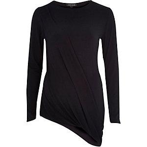 Black long sleeve asymmetric draped top