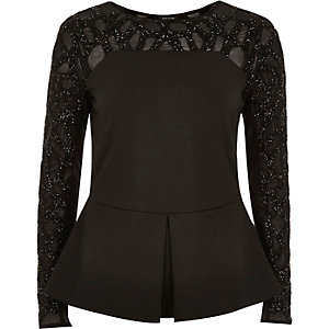 Black embellished peplum top