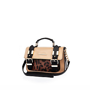 Brown leopard print mini satchel handbag