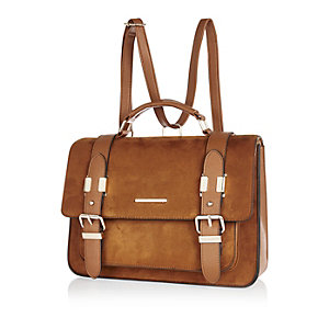 Camel large faux-suede satchel handbag