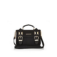 Black faux suede mini satchel handbag