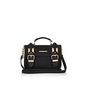 Black faux-suede mini satchel handbag