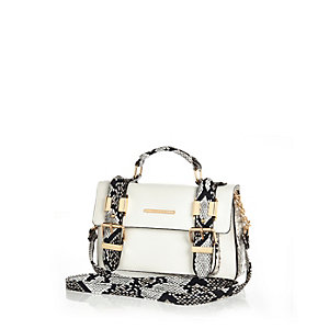 White snake panel mini satchel bag