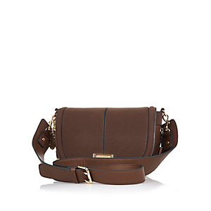 Dark brown zip side saddle handbag