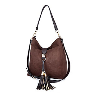 Brown tassel front slouchy handbag