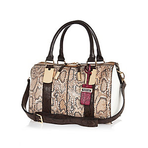 Brown snake print bowler handbag