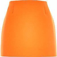 Orange textured mini skirt