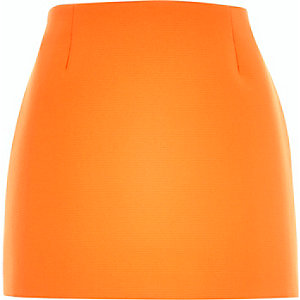 Orange textured mini skirt