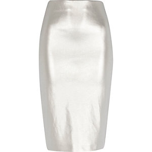 Silver metallic pull on pencil skirt