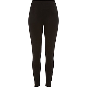 Black premium high waisted popper leggings