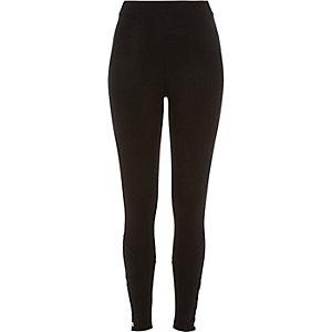 Black premium high waisted popper leggings