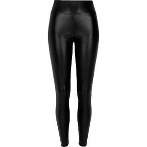 Black pearlescent high waisted leggings