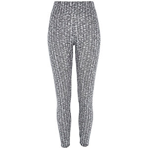 Grey marl ribbed high waisted leggings