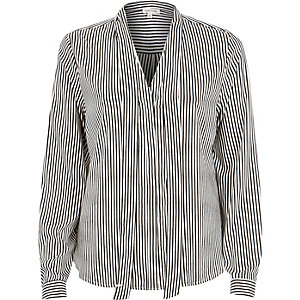 Blue stripe tie neck blouse