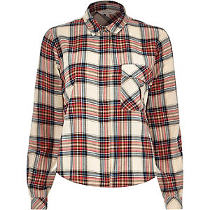 Cream check pocket shirt