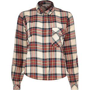 Cream check pocket shirt