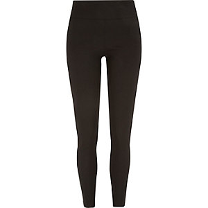 Black high waisted coated ribbed leggings