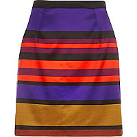 Purple stripe satin A-line skirt