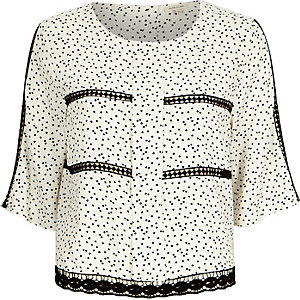 Cream spot lace insert top