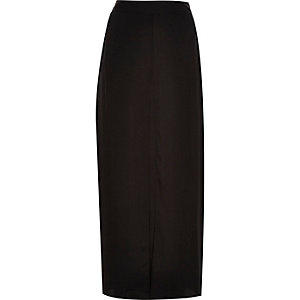 Black pleat front maxi skirt