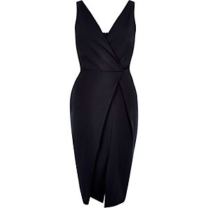 Navy plunge wrap pencil dress