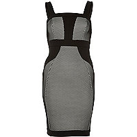 Black scuba bodycon pencil dress