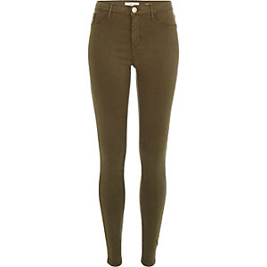 Khaki sateen finish Molly jeggings