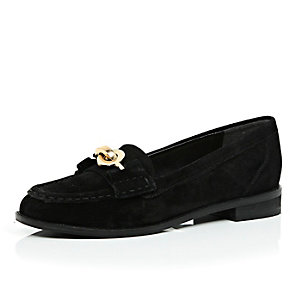 Black suede chain loafers