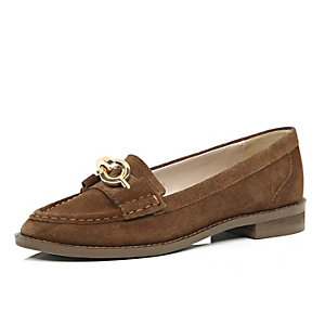 Brown suede chain loafers