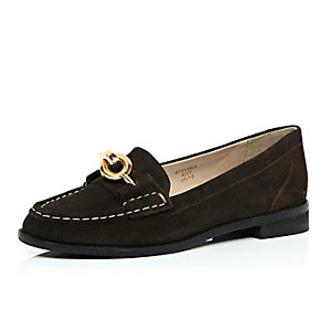 Dark brown suede chain loafers