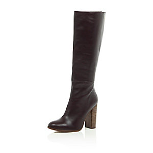 Dark red leather knee high heeled boots