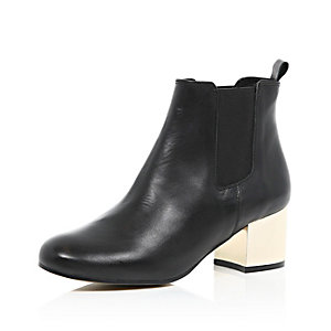 Black metallic heel ankle boots