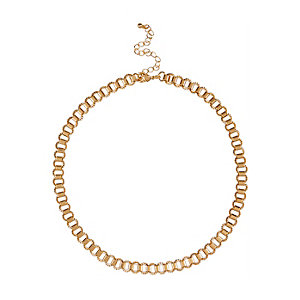 Gold tone short box chain necklace