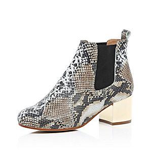 Beige snake print metallic heel ankle boots