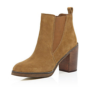 Tan brown suede heeled ankle boots