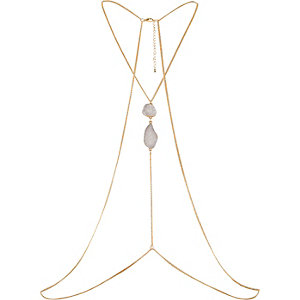 Gold tone stone chain body harness
